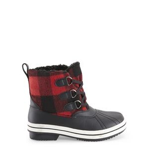 Madden Girl Red & Black Buffalo Plaid Duck Boots